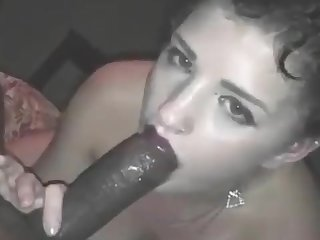 White thot sucking big black cock