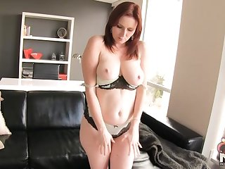 Big ass redhead ElliNude with hot curves strips and teases