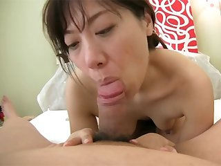 Amateur Japanese cougar strips and takes creampie in her dripping wet pussy
