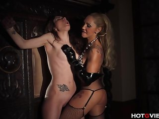 Leather Mama Spanking and Finger Fucking her Slave